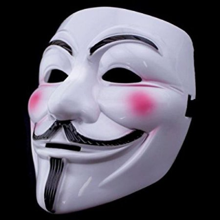 v for vendetta anonymous guy fawkes masquerade halloween edc mask (white mask w/ pink cheeks)
