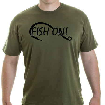 - Grab A Smile Fish On Fishing Hook Short Sleeve Men's 100% Cotton T-shirt