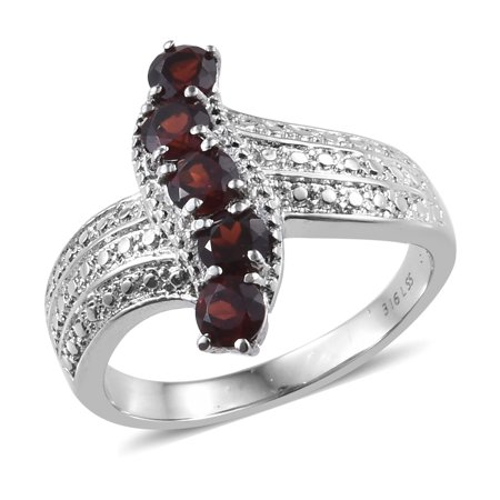 Stainless Steel Round Garnet Statement Ring for Women Cttw 1.3 Jewelry Gift