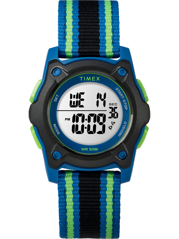 Kids Time Machines Digital 35mm Blue/Black/Green Watch, Double-Layered Nylon Strap