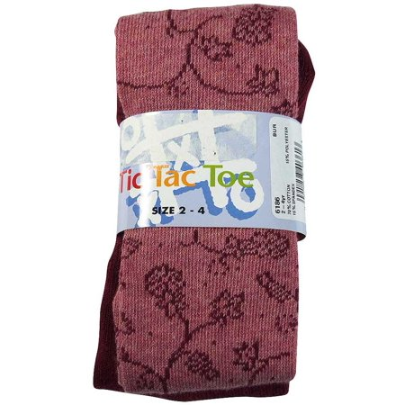Tic Tac Toe - Little Girls Heavy Floral Vine Cotton Tight Burgundy Floral / X-Small](Girls Vine)