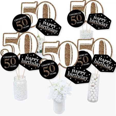 Adult 50th Birthday - Gold - Birthday Party Centerpiece Sticks - Table Toppers - Set of 15 (Centerpiece Ideas For 50th Birthday)