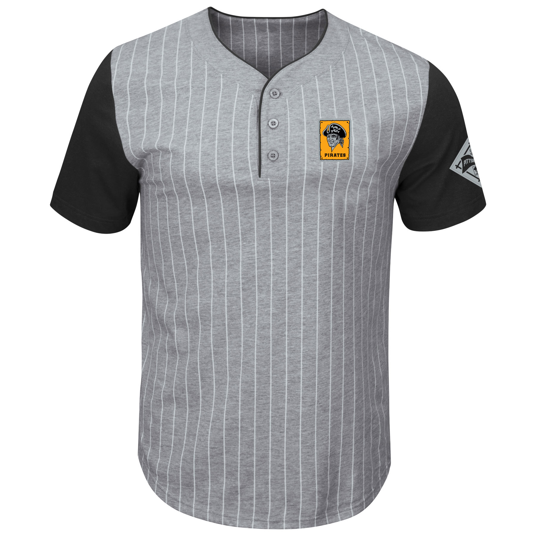 Pittsburgh Pirates Majestic Cooperstown Collection Pinstripe Henley T-Shirt - Gray/Black