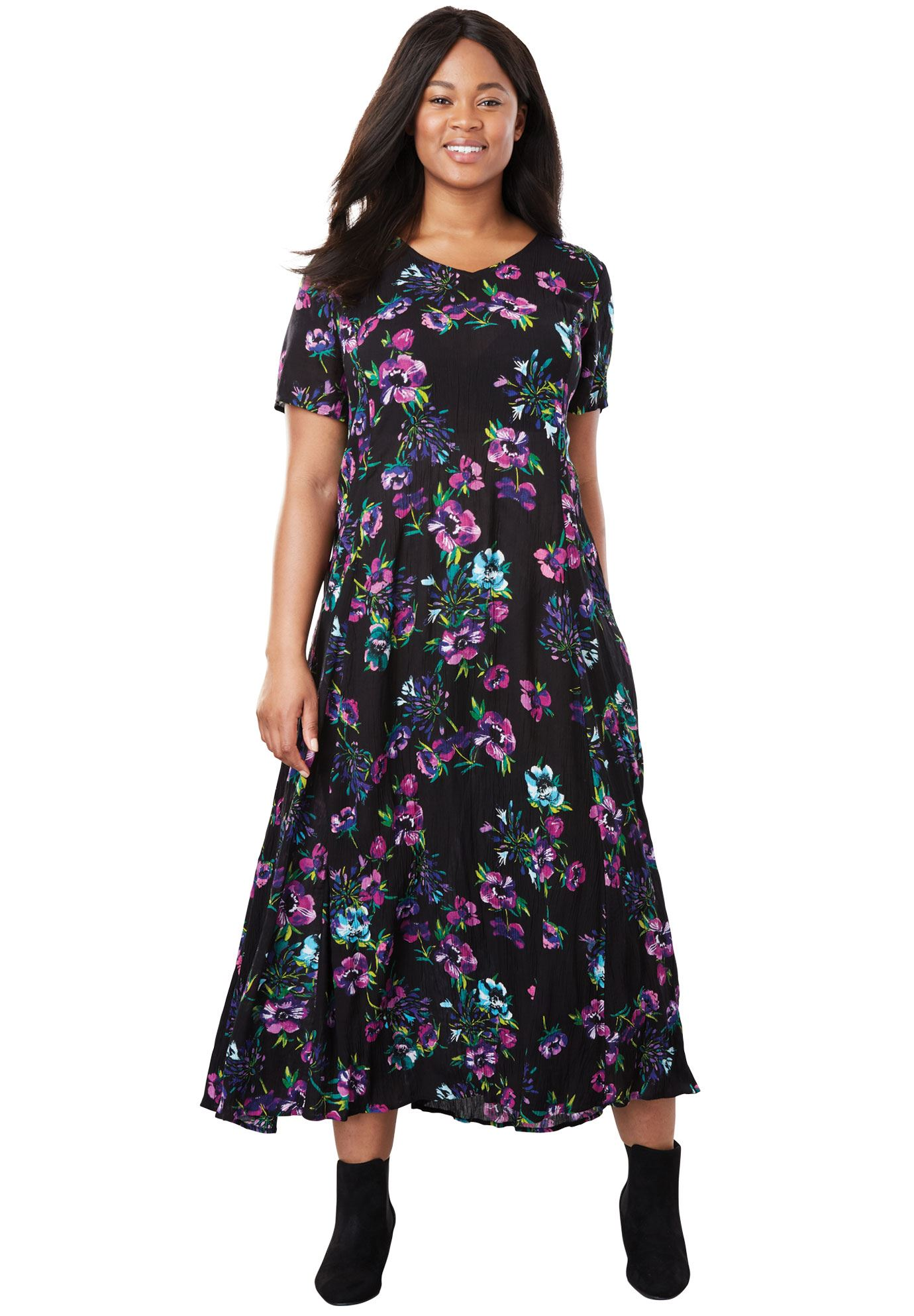 Woman Within - Woman Within Plus Size Petite Crinkle Dress - Walmart.com