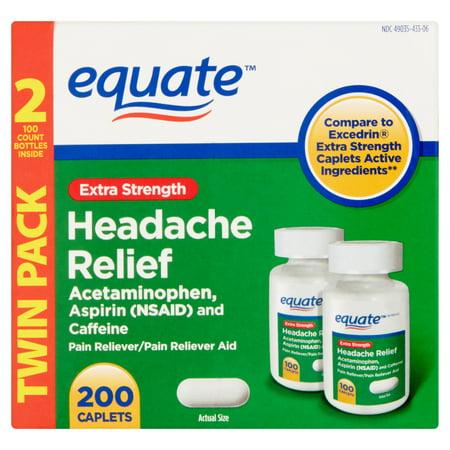 equate Force supplémentaire Maux de tête Soulagement de la douleur nombre releveur, 100, (pack de 2)