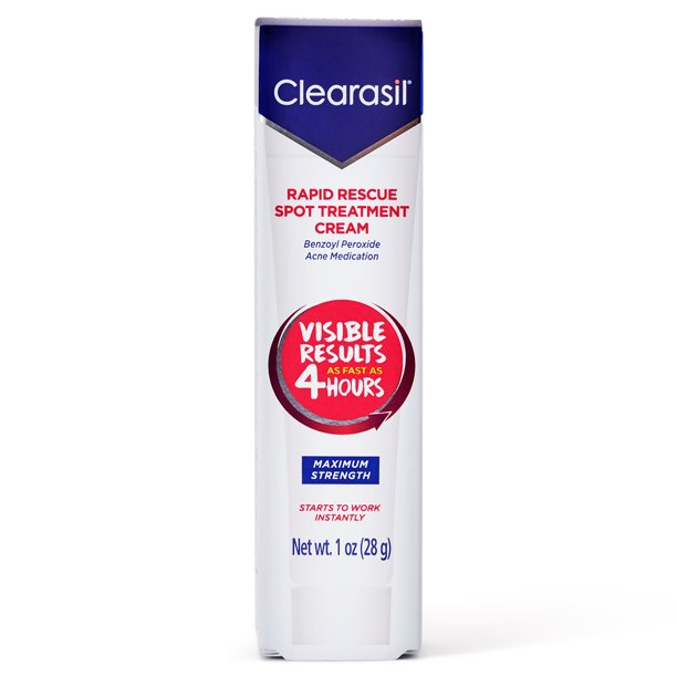 Acne Treatment Cream - Clearasil Rapid Rescue Spot Treatment Cream with Benzoyl Peroxide Acne Medication for Acne Relief in as fast as 4 hours, 1 Ounce