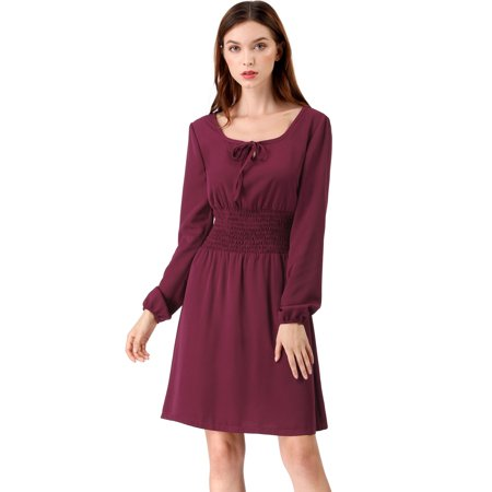 A-line Square Neck - Unique Bargains Women's A-line Swing Smock Square Neck Dress Maroon (Size M / 10)
