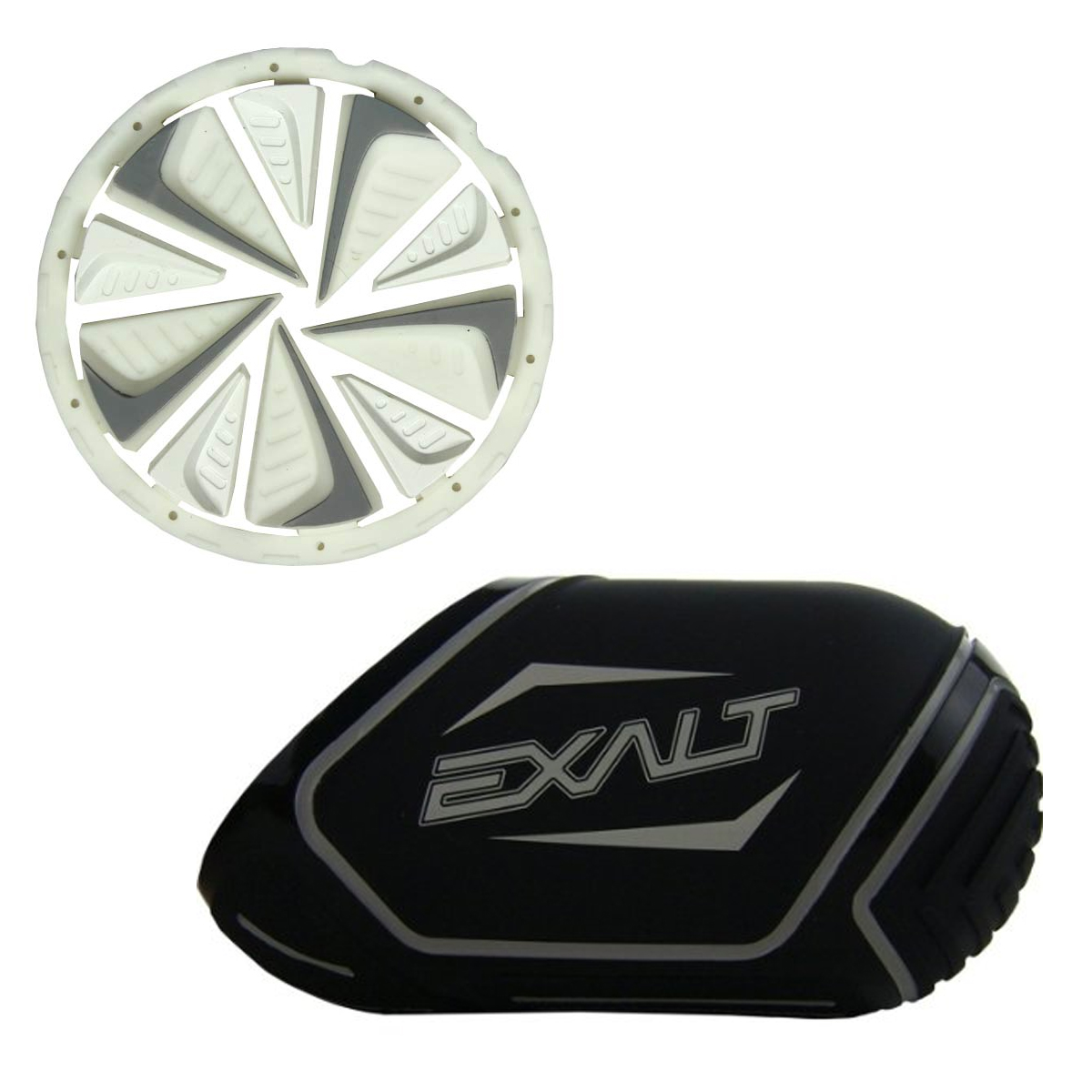 Exalt Paintball Rotor FastFeed Loader FeedGate White + Exalt Tank Cover by