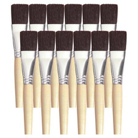 Black Bristle Paint Brush (School Smart Black Bristle Short Handle Paint Brush, 1 Inch, Pack of)