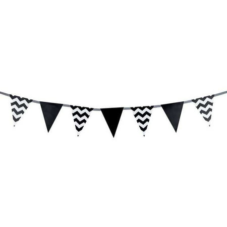 Black & White Solid & Chevron Flag Banner Party Supplies All Occasion Parties Birthday Wedding Sweet 16 (Sweet 16 Black And White Theme)