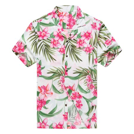 6648053c531 Hawaii Hangover - Made in Hawaii Men s Hawaiian Shirt Aloha Shirt 2XL Pink  Floral with Green Leaf in White - Walmart.com