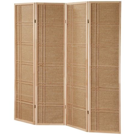 Legacy Decor 4 Panel Fabric In-lay Wooden Screen Room Divider Natural Finish (Natural Finish Room Divider Screen)