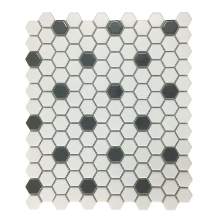 Glossy White & Black Floor Tile Porcelain Mosaic Hexagon 1 Sheet 10.25