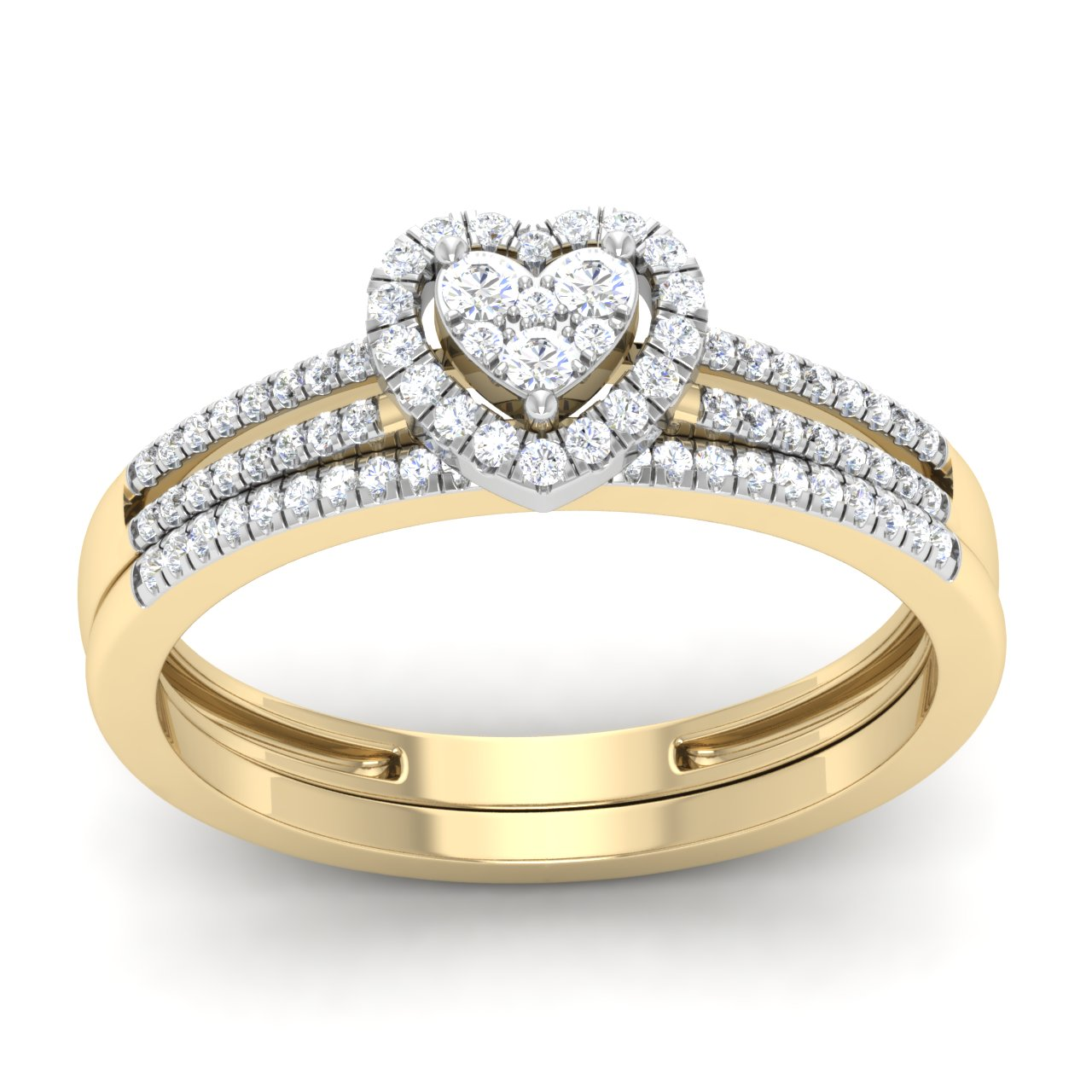 1 4Ct Round Cut Natural Diamond Heart Frame Engagement Ring Set in 10K Yellow Gold by Arina jewelry