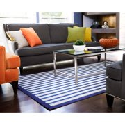 Jani  Shore Blue Striped Rayon from Bamboo Rug (7' x 10')