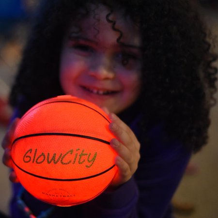 GlowCity Ultra Bright Glow In The Dark Impact Activated LED Mini Basketball - Glow Night Light With Glow Balls