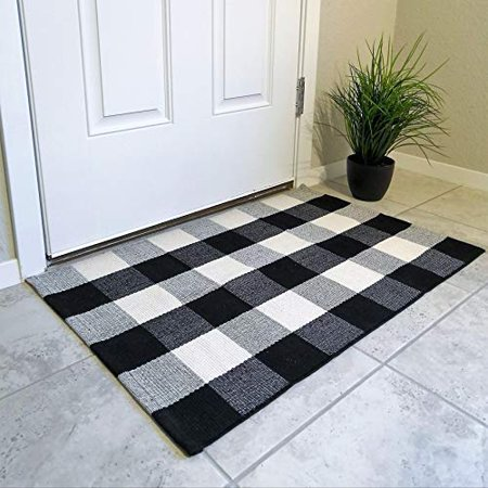 Cotton Buffalo Plaid Rugs Black And White Checkered Rug Welcome