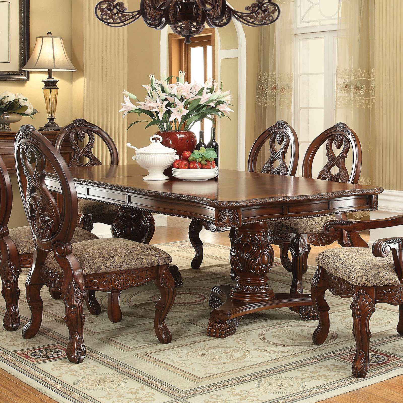Acme Furniture Rovledo Rectangular Double Pedestal Dining Table by