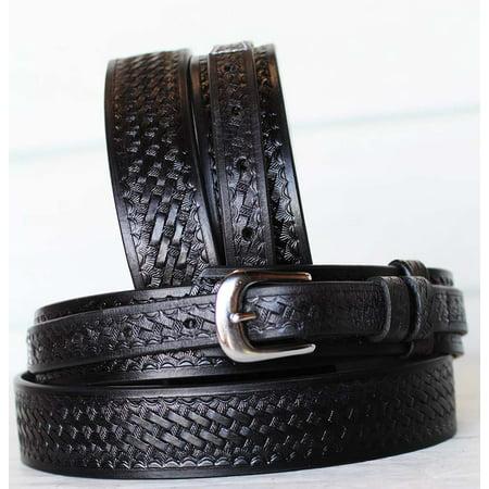 Black Leather Western Belt (PRORIDER Men's Western RANGER BELT Tooled Leather Basket Weave Black)