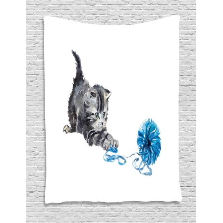 Cat Tapestry, Playful Baby Kitten with Ball of Yarn Furry Animal Domestic Feline Kids Pets Artwork, Wall Hanging for Bedroom Living Room Dorm Decor, Grey Blue, by Ambesonne - Artwork For Kids