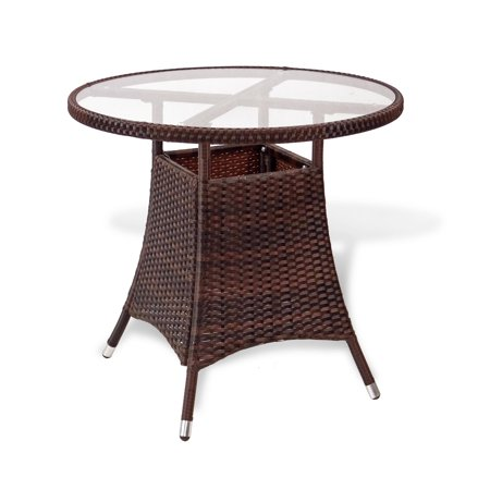 SK New Interiors Resin Outdoor Wicker Round Patio Dining Table w/Glass Top Deck Backyard, Dark Brown ()