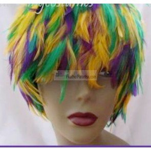 Mardi Gras Wigs (Mardi Gras/Halloween Wig - Mix Purple Gold Green Hackle Feather)