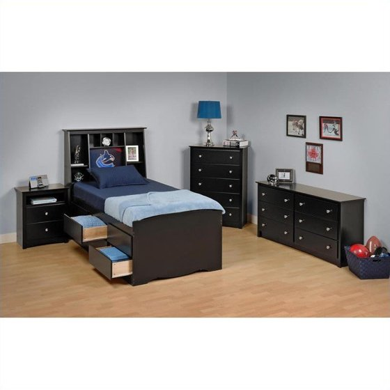 Details About White 3 Piece Storage Drawers Twin Bed Box: Prepac Sonoma Black Tall Twin Wood Platform Storage Bed 3