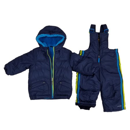 Infant Boys 2-Piece Navy Sherpa Coat & Snow Bibs Snowsuit Set