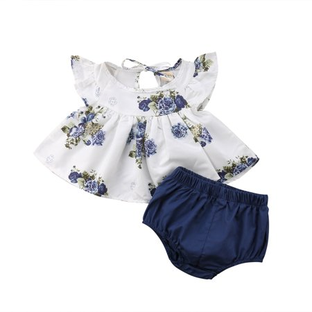 2PCS Newborn Infant Kids Baby Girl Floral Tops Dress Shorts Pants Summer Clothes Outfits White 0-3 Months - White Girl Clothing