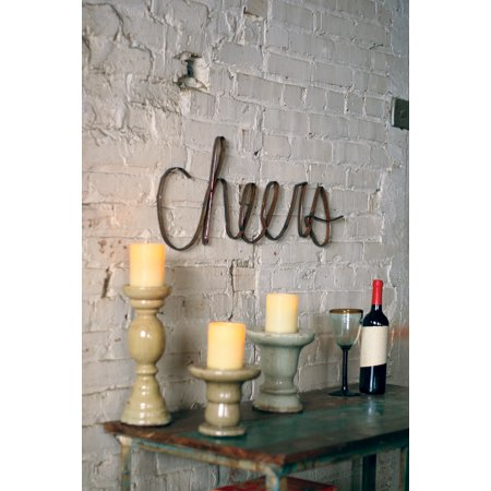 Gwg Outlet Scrap Iron Cheers Wall Sign Decor A4507