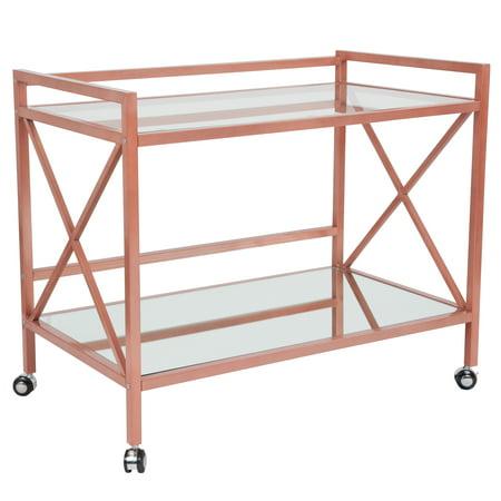 Flash Furniture Glenwood Park Glass Kitchen Serving and Bar Cart with Rose Gold Frame ()