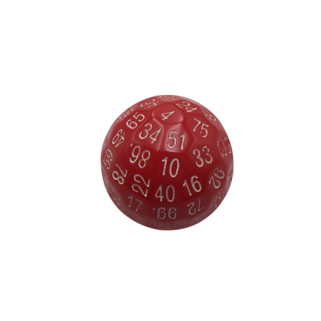 Single 100 Sided Polyhedral Dice (D100) | Solid Red Color with White Numbering (45mm) (100 Piece 11.5g Dice)