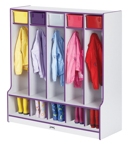 Coat Locker With Step  - 5 Sections-Color:Red