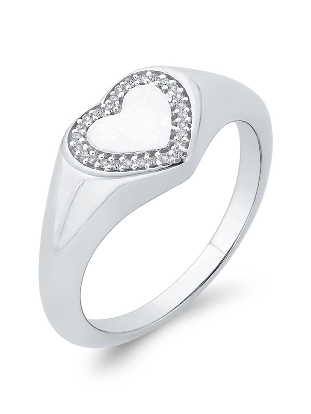 Size-3.5 3 Diamond Promise Ring in 14K White Gold G-H,I2-I3 1//20 cttw,