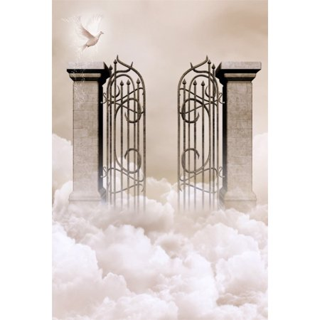 GreenDecor Polyster 5x7ft Wonderland Heaven Backdrop For Photography Dreamy Celestial Cloud Sky Retro Gate Peace Dove Wedding Background Photo Studio Props Lovers Adult Girl Boy Artistic (Best Canon Lens For Wedding And Portrait Photography)