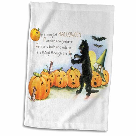 3dRose Vintage Sing a Song of Halloween Black Cat Bats and Jack O Lantern Pumpkins - Towel, 15 by 22-inch