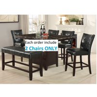 "Set of 2 - 24"" Seat Height Black Faux Leather Dining Chair"