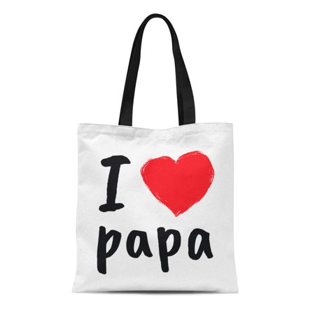 POGLIP Canvas Tote Bag Birthday I Love Papa Greetings for Fathers Day Happy Reusable Shoulder Grocery Shopping Bags Handbag - image 1 de 1