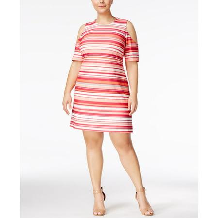 Calvin Klein Plus Size Striped Cold-Shoulder Sheath (Calvin Klein Jeans Women Pants)