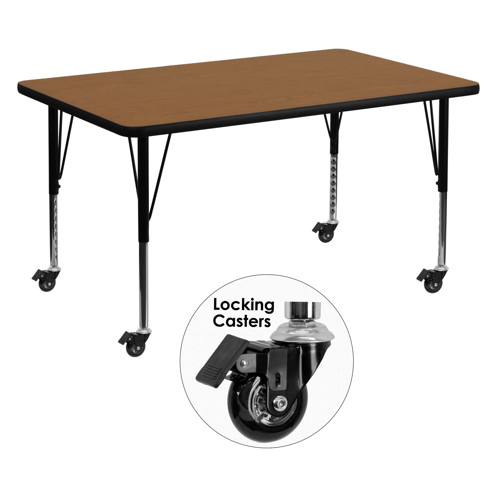 Flash Furniture Mobile 36''W x 72''L Rectangular Activity Table with Oak Thermal Fused Laminate Top and Height Adjustable Preschool Legs