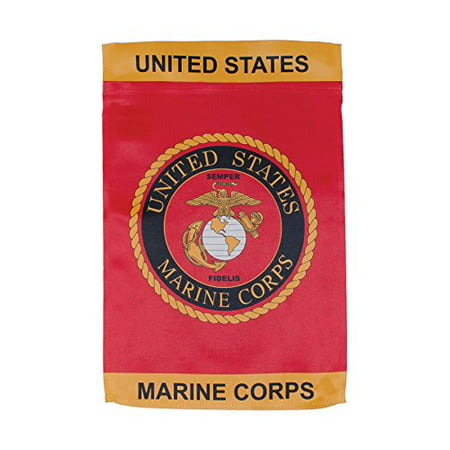 In The Breeze U S  Marine Corps Emblem Lustre Garden Flag   Double Sided Military Service Flag