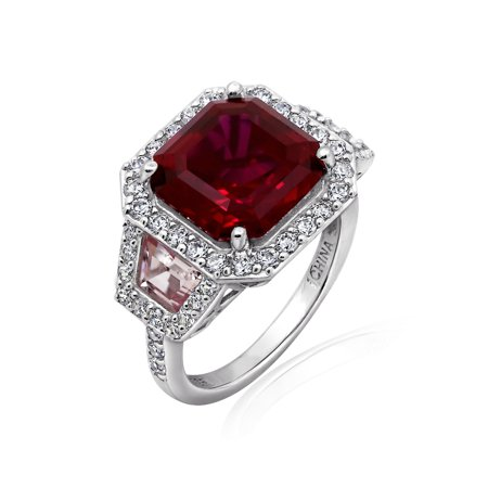 Gemour Platinum Plated Sterling Silver Asscher-cut Created Ruby and Pink Sapphire Ring with Swarovski Zirconia Asscher Sapphire Ring