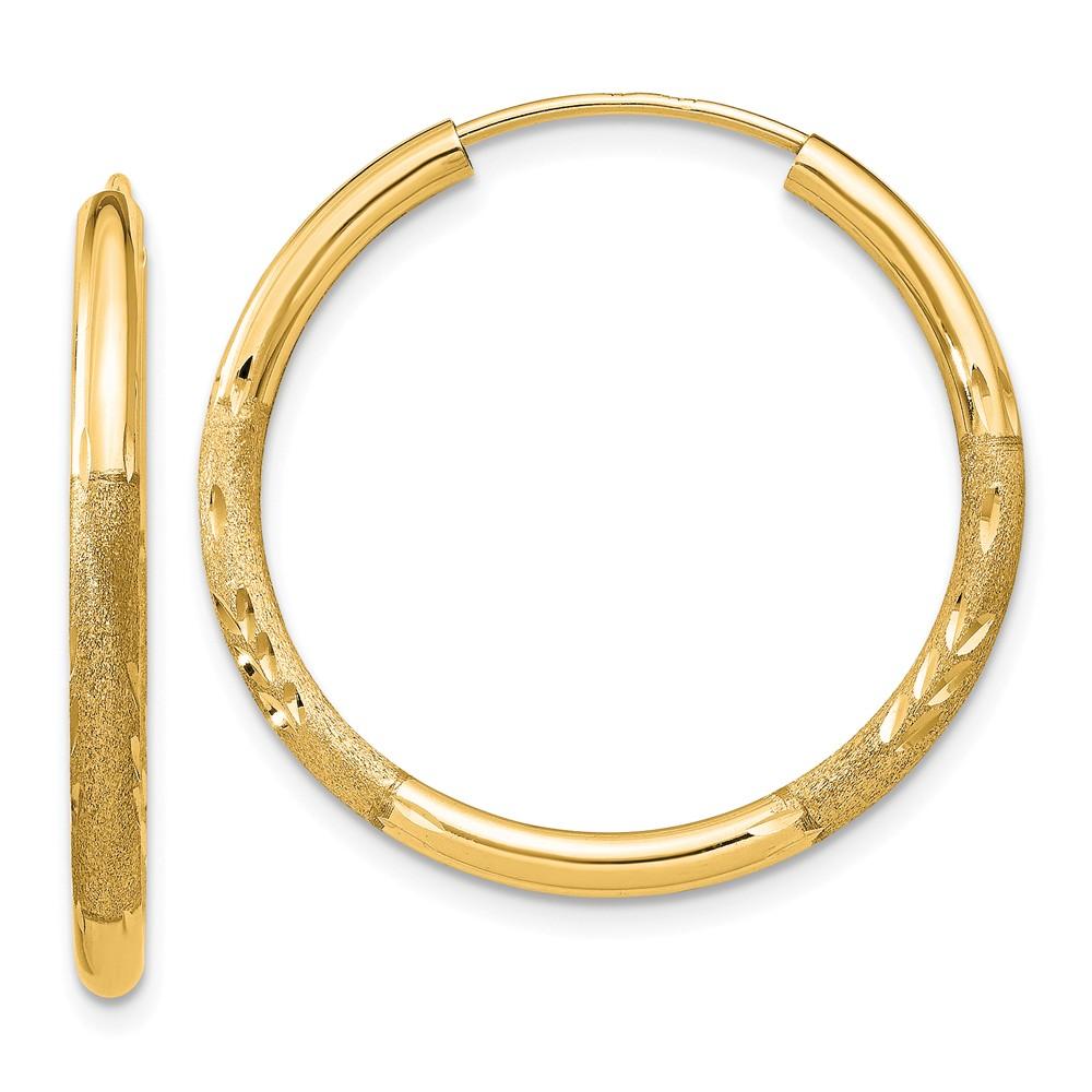 14k Yellow Gold 2mm Satin Diamond-cut Endless Hoop Earrings. 25mm Diameter.
