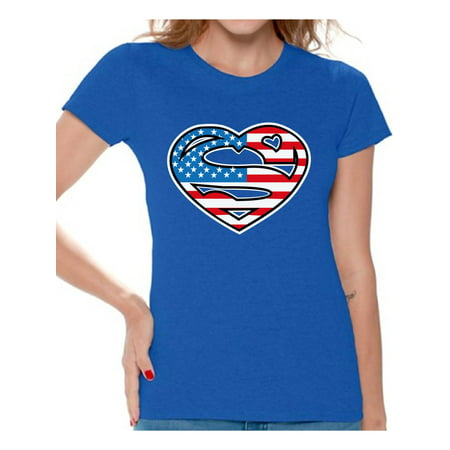 - Awkward Styles Women's USA Heart Flag Graphic T-shirt Tops Super American Patriotic 4th of July