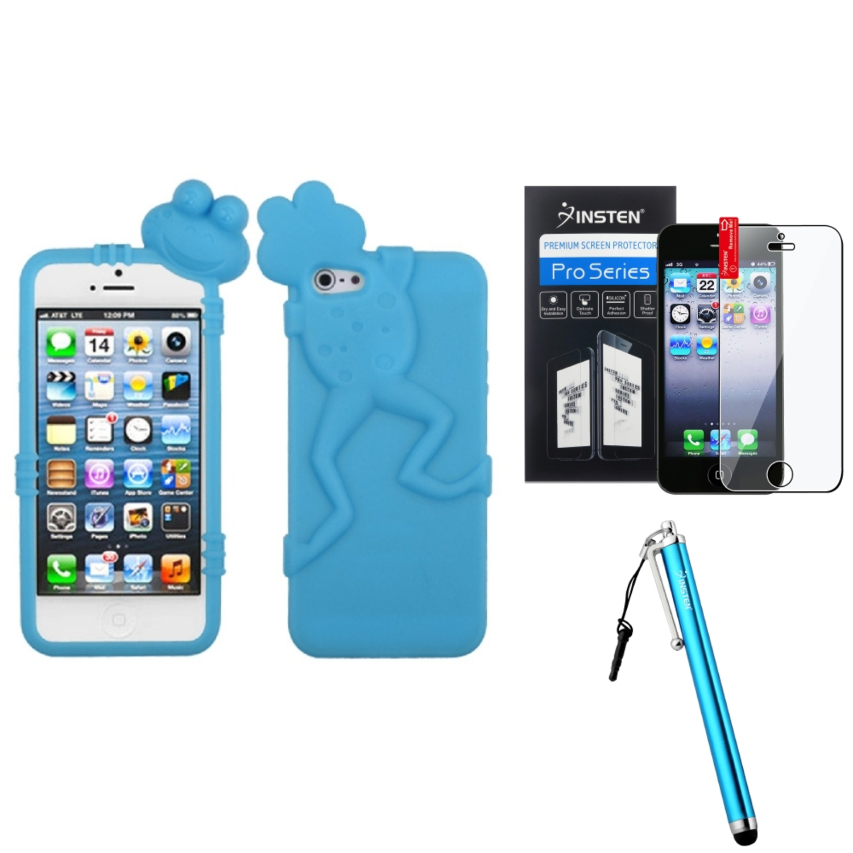 Insten Baby Blue Frog Peeking Pets Skin Case For Apple iPhone SE 5 / 5s + Stylus + Screen Protector