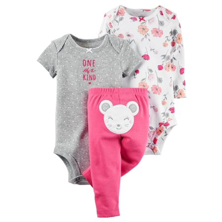 Carters Baby Clothing Outfit Girls 3-Piece Little Character Set Mouse Floral, - Character Outfits