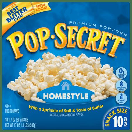 Pop Secret Homestyle Microwave Popcorn, Snack Size 1.7 oz Bags, 10 - Popcorn Snack Mix Halloween