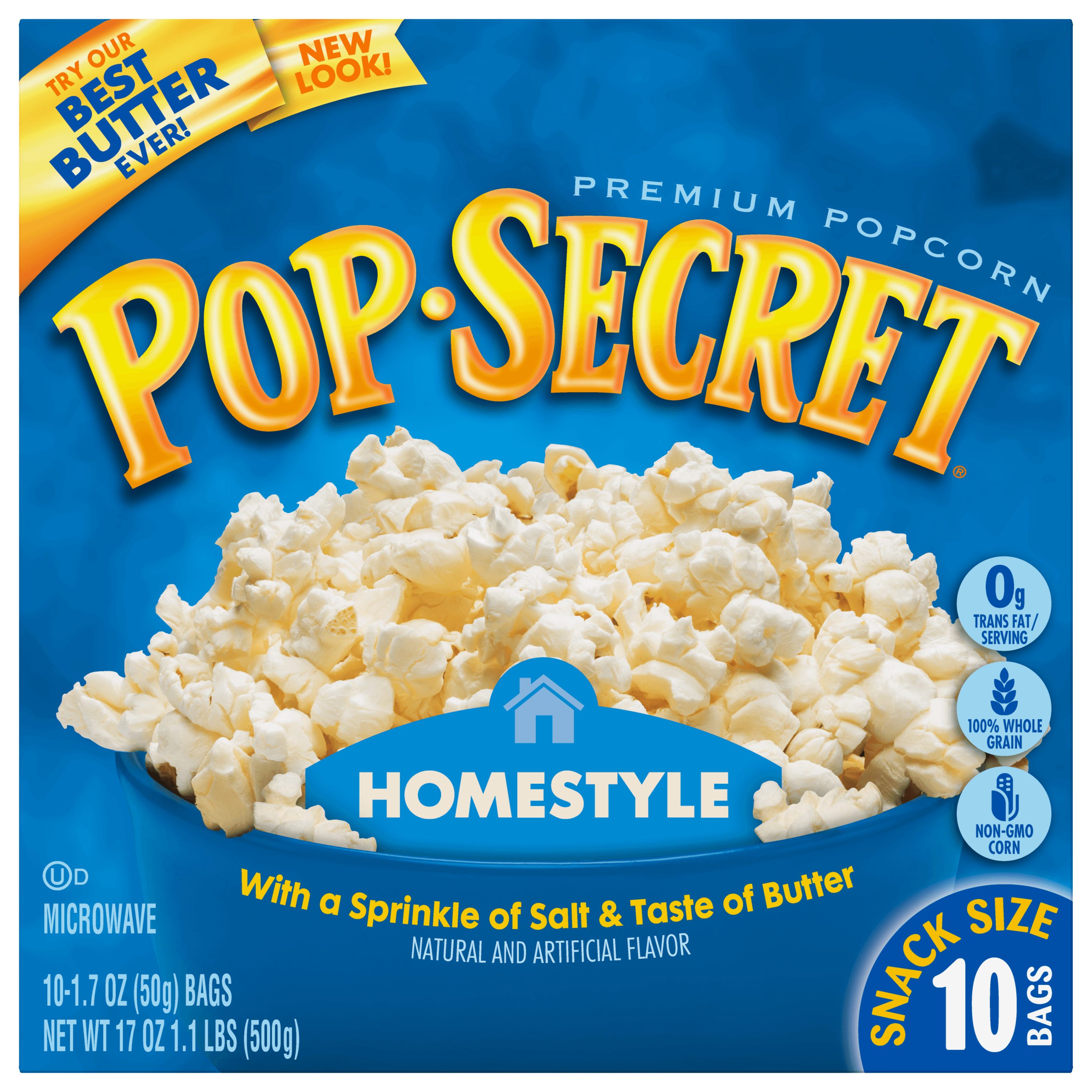 Pop Secret Homestyle Microwave Popcorn, Snack Size 1.7 oz Bags, 10 Count