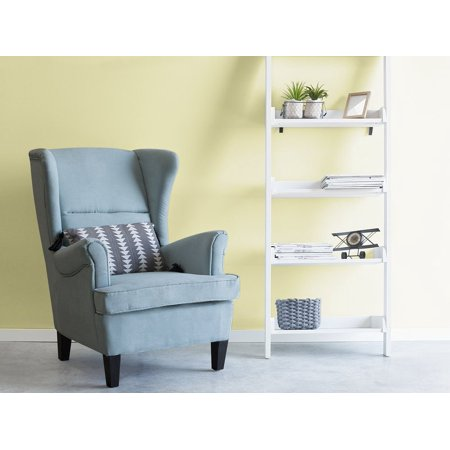 Classic wingback chair upholstered high back blue fabric - High back wing chairs for living room ...