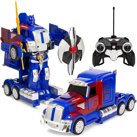 Best Choice Products 27MHz Kids Transforming RC Semi-Truck Robot Remote Control Toy w/ 2 Dance Modes, Music, Sword, Shield - Blue/Red](Remote Control Robots For Kids)
